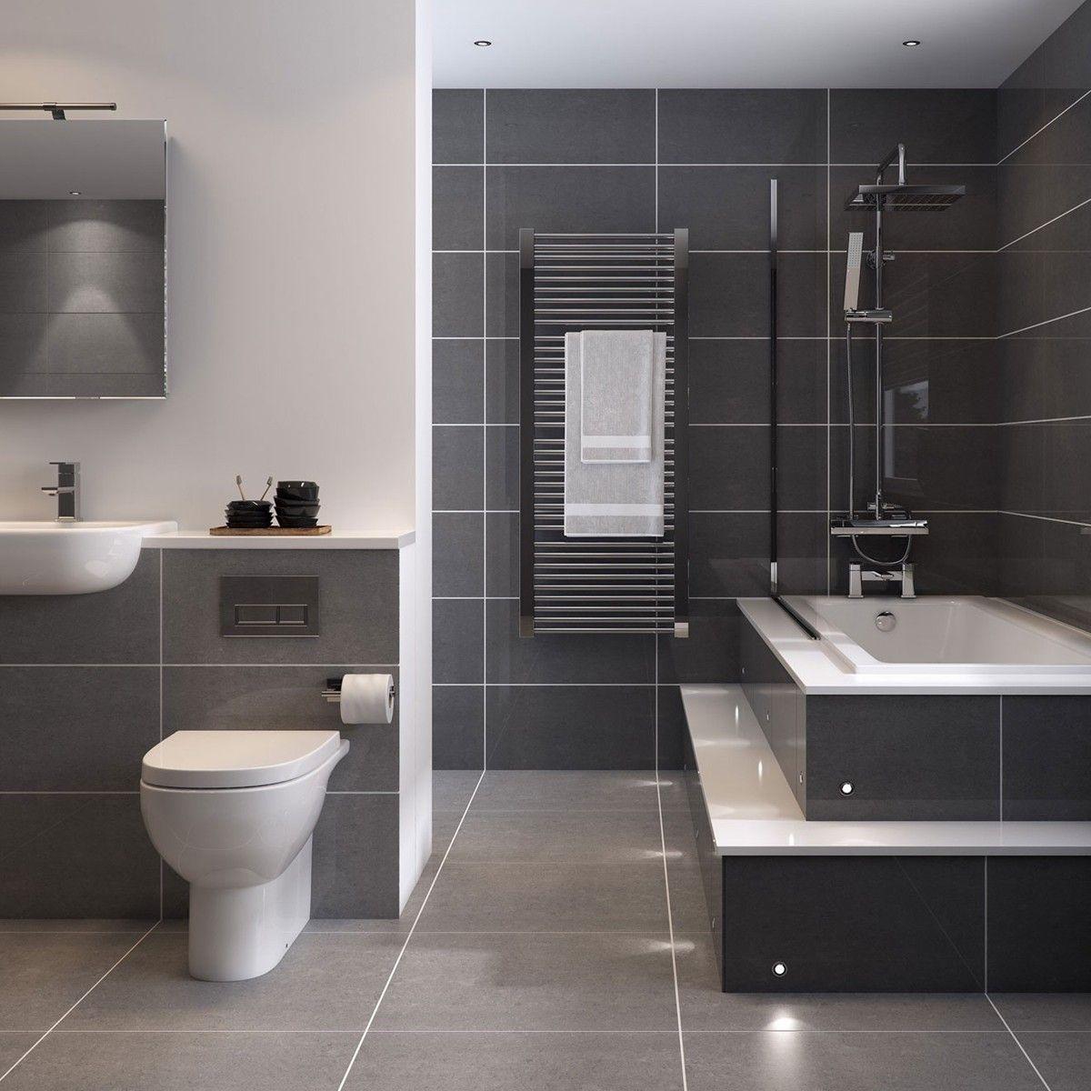 couleur sombre salle de bain carrelage gris