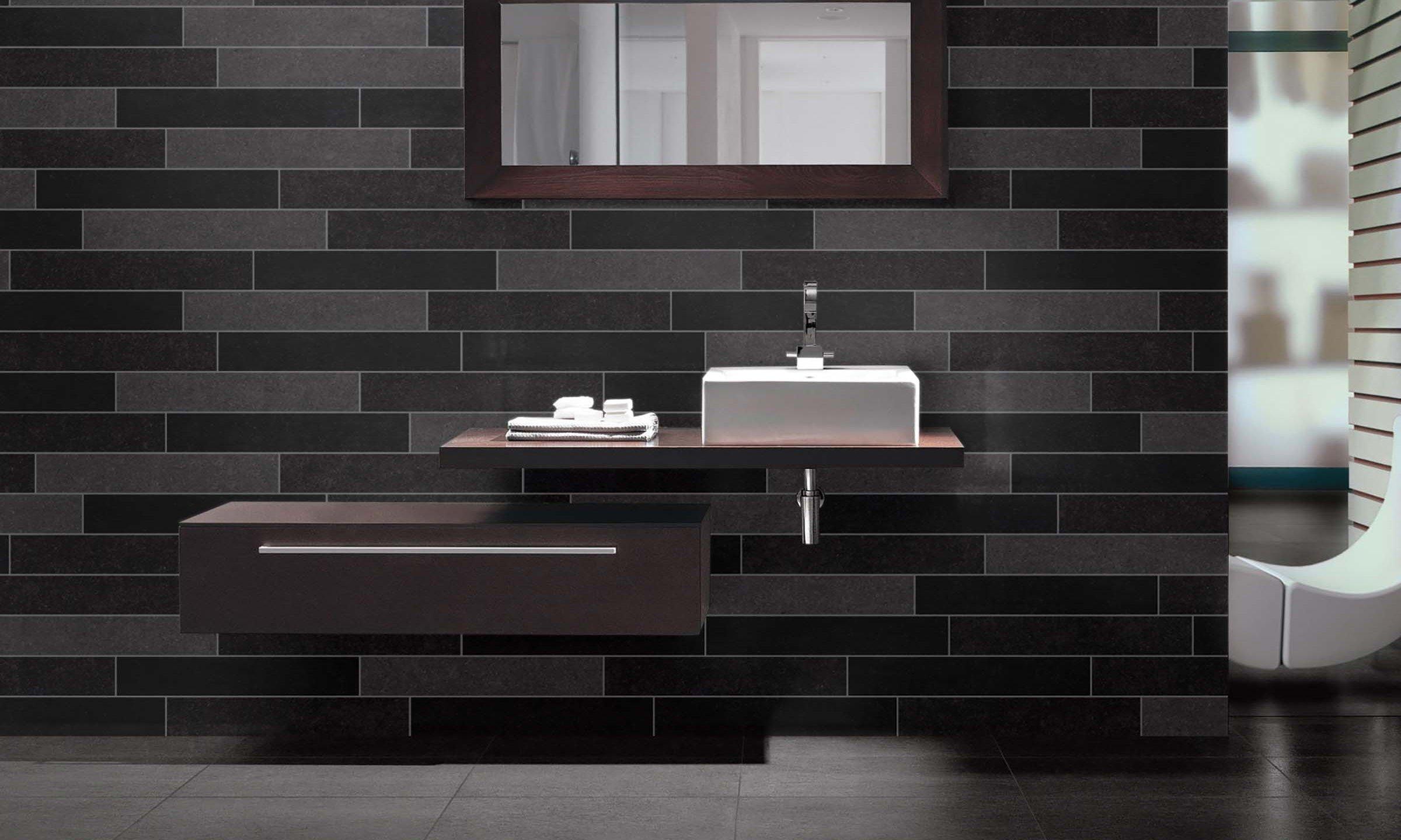 couleur sombre salle de bain carrelage noir