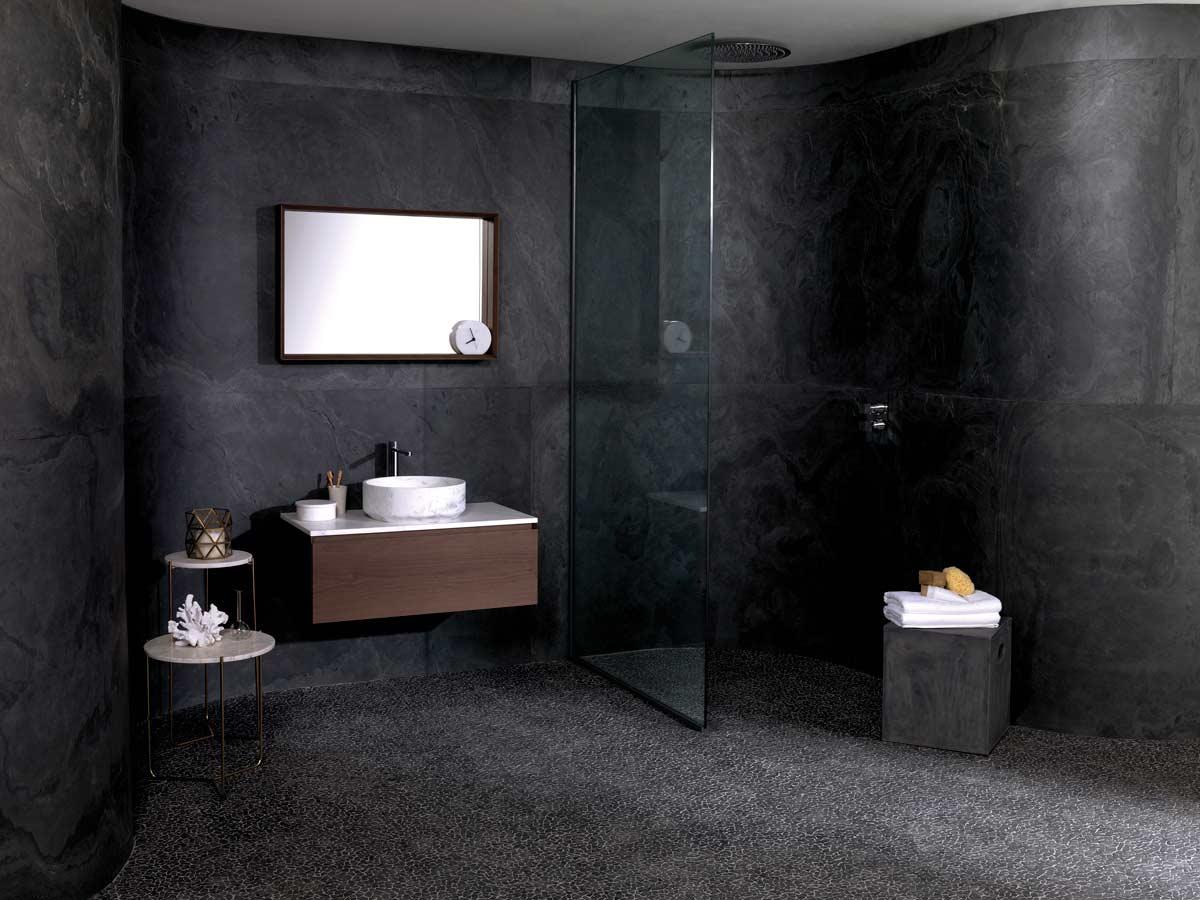 couleur sombre salle de bain moderne et minimaliste grise