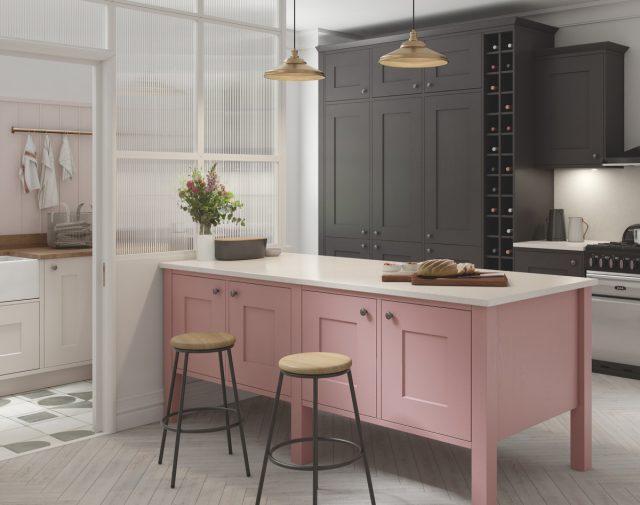 cuisine elegante feminine ilot central rose