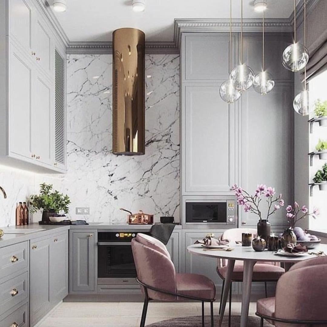 cuisine elegante feminine rose gris marbre