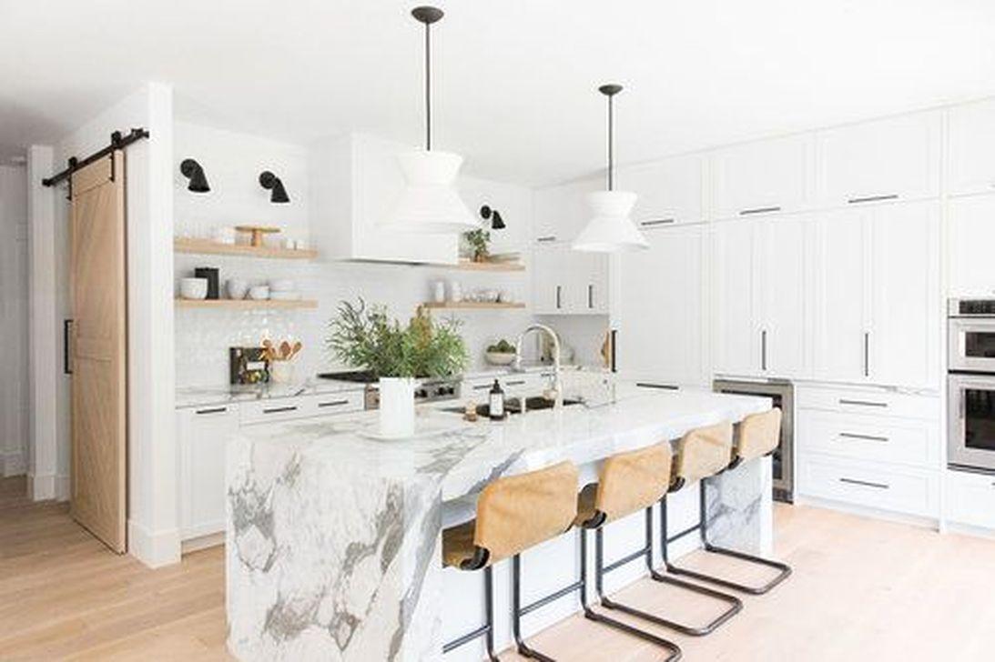cuisine feminine elegante marbre bois