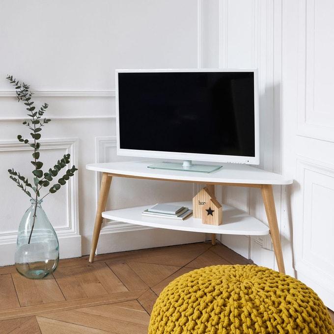 meuble tele angle deco bois blanc