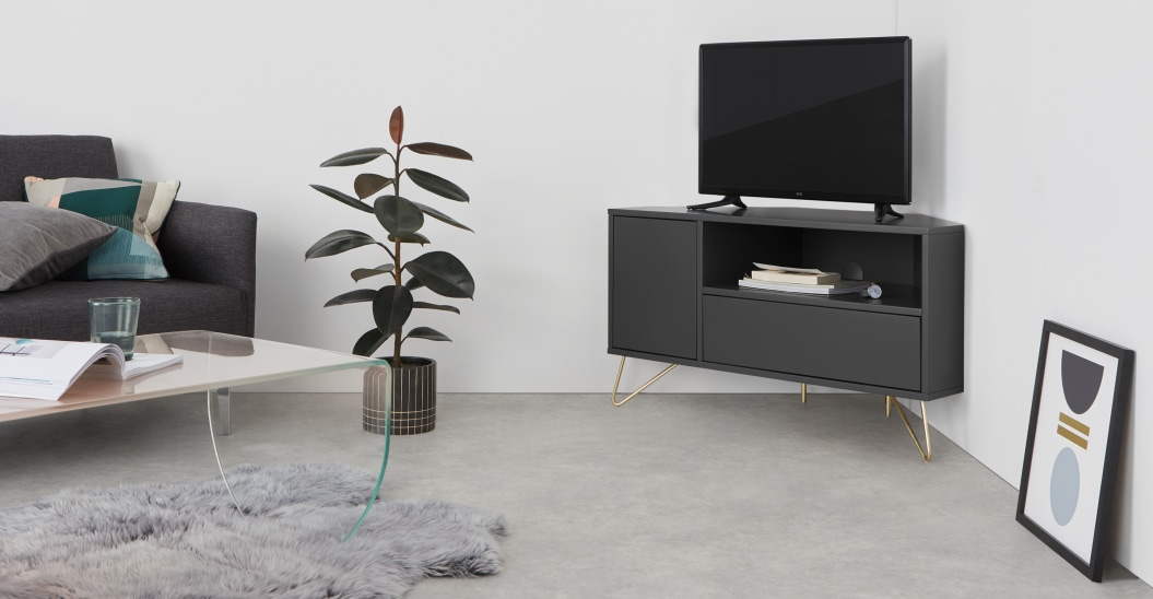 meuble tv angle gris salon