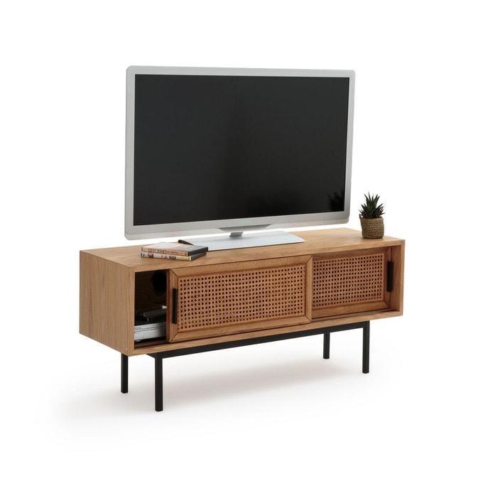 petit meuble tele bois cannage