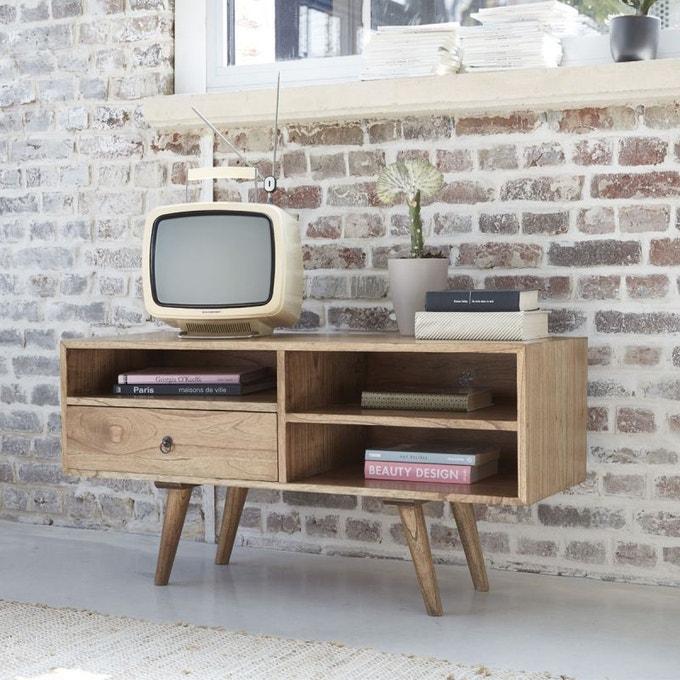 petit meuble tele tiroir bois