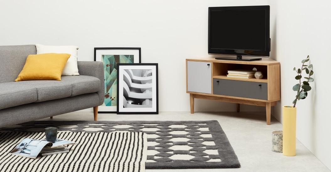 petit meuble tv angle bois et couleur