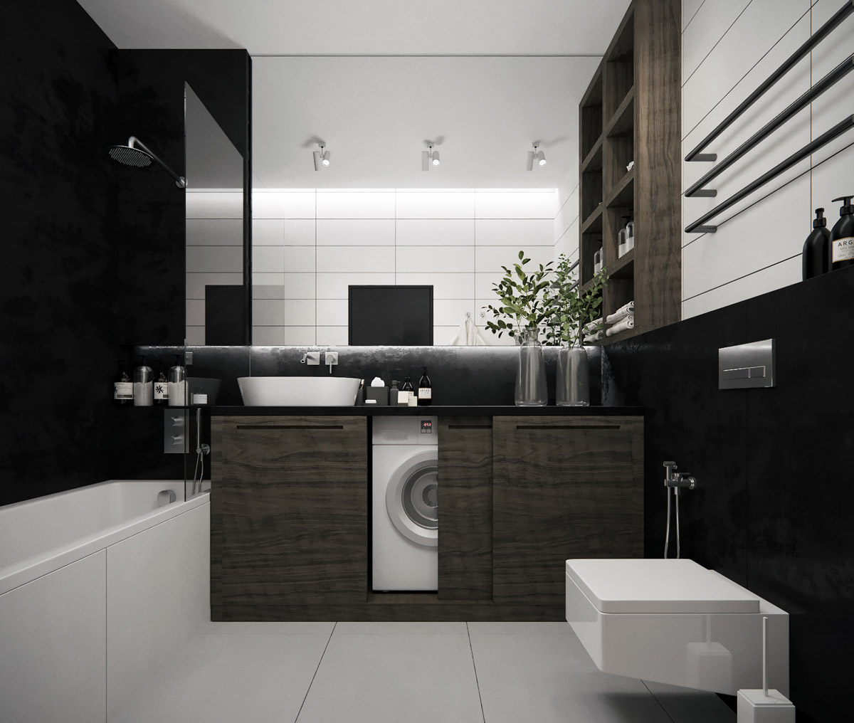 salle de bain minimaliste machine a laver