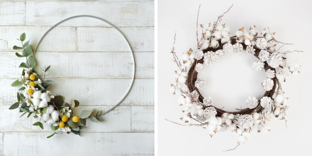 deco couronne fleur coton