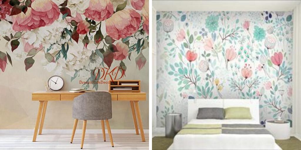 deco fleur fresque murale couleur