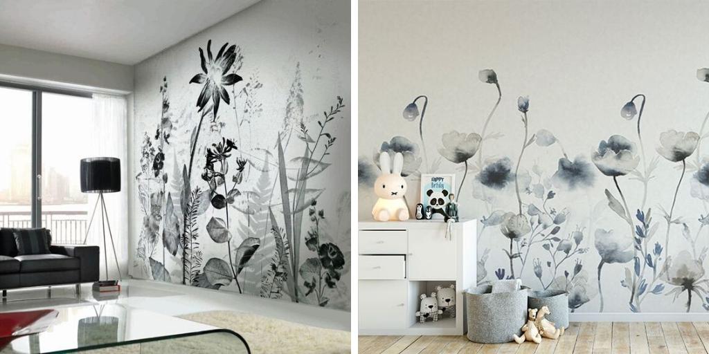 deco fleur fresque murale noir et blanc