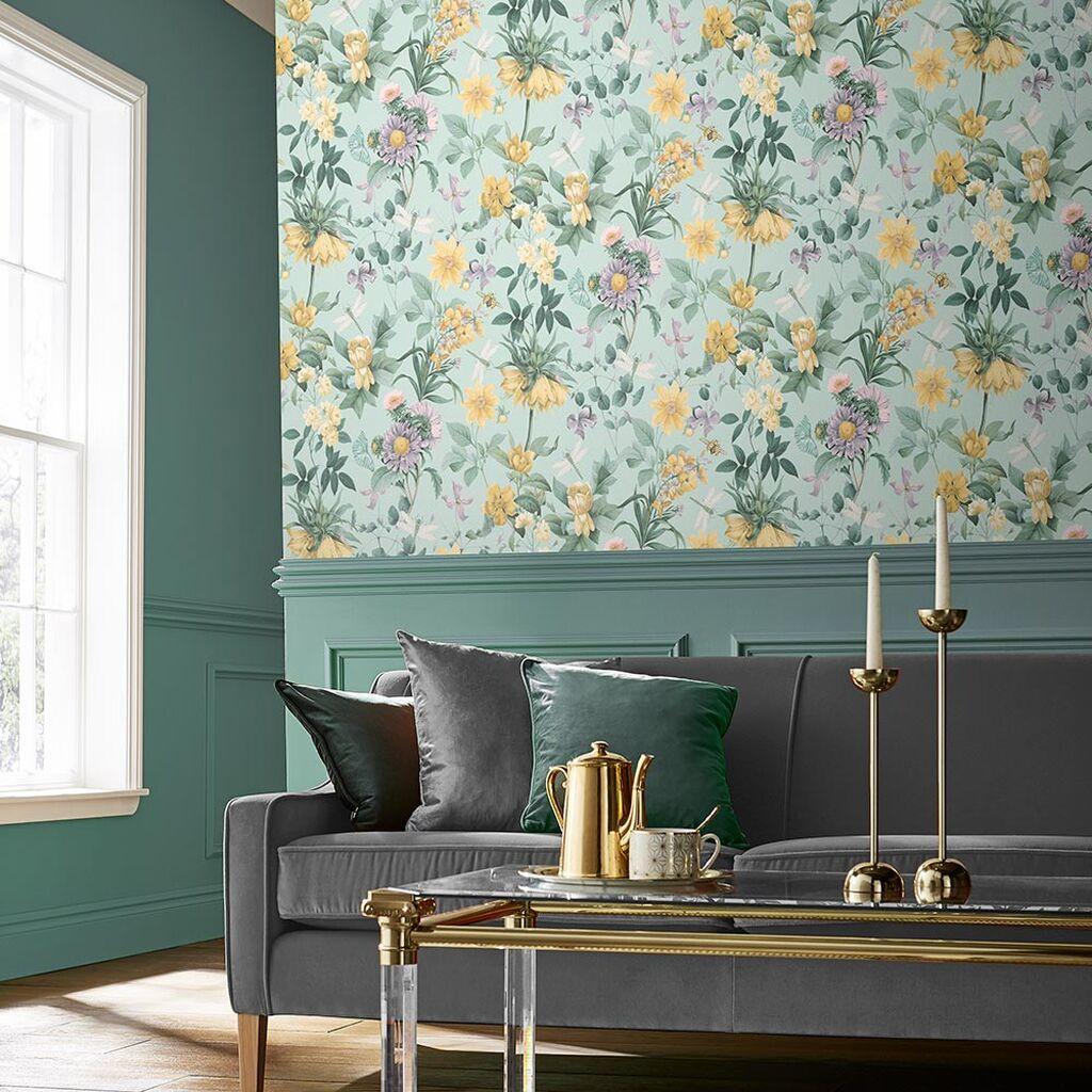 deco fleur papier peint bleu vert jaune