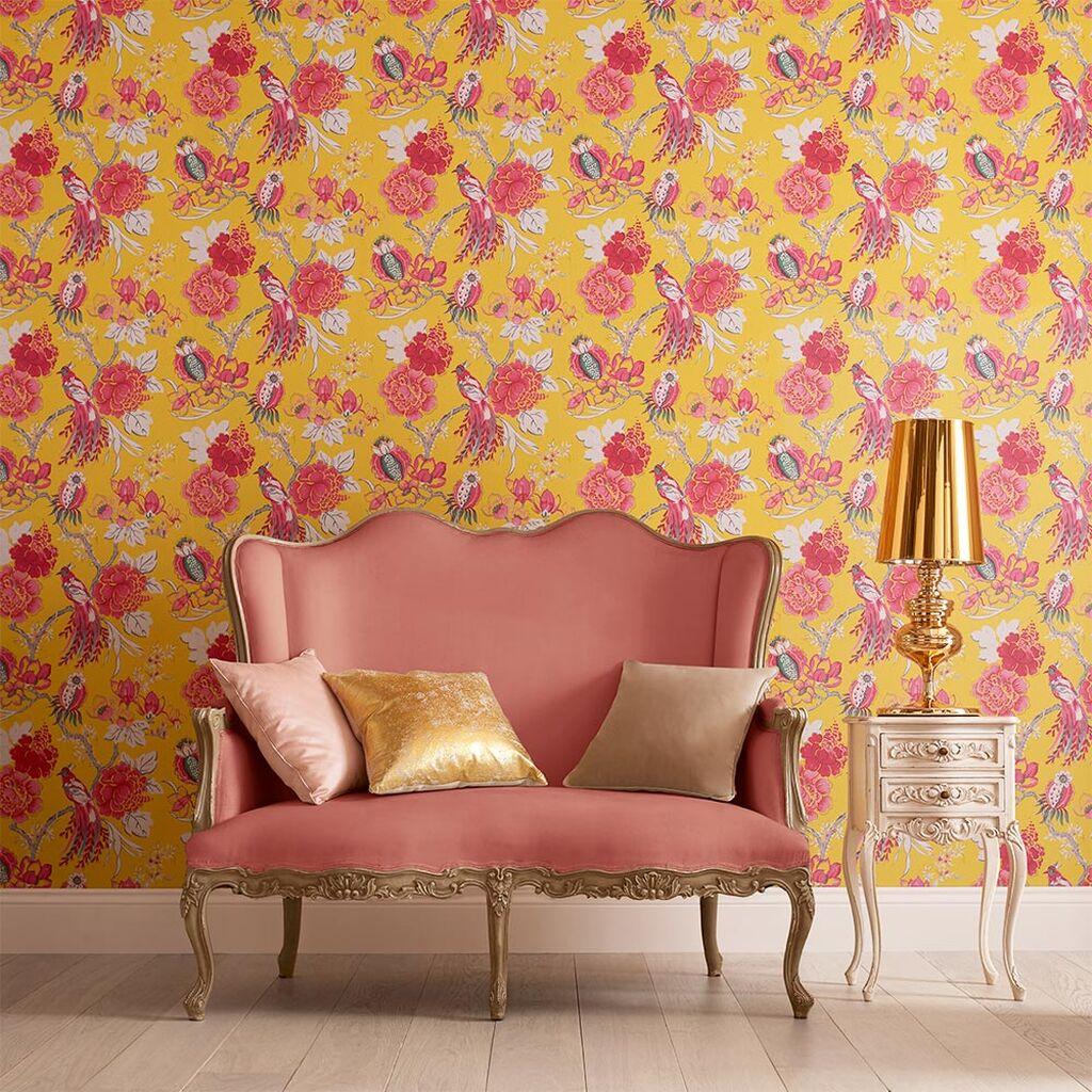 deco fleur papier peint jaune rose
