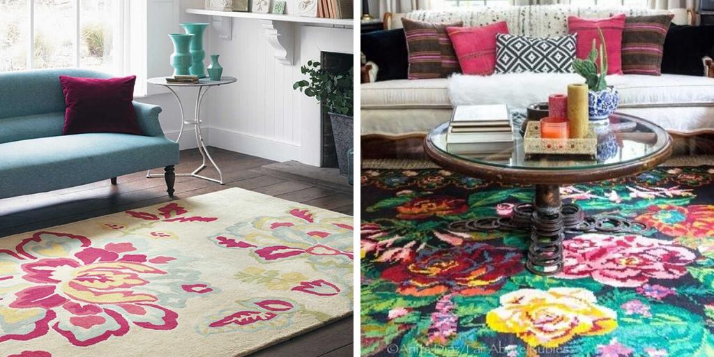 deco fleur tapis imprime grand motif