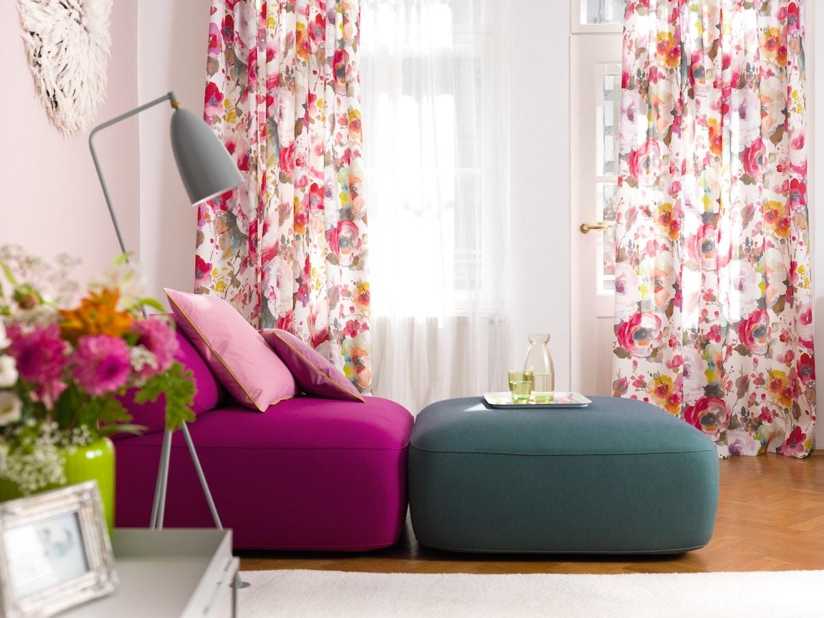 deco fleurs rideau ambiance moderne