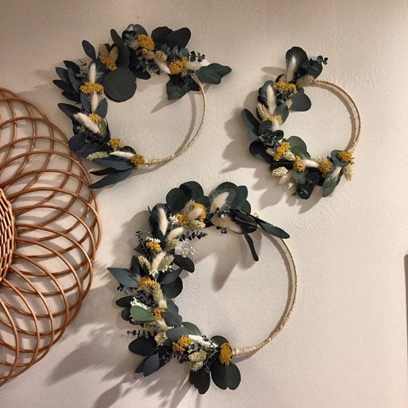 deco fleurs sechees couronnes
