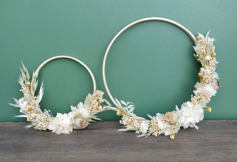 deco florale fleur sechees couronne