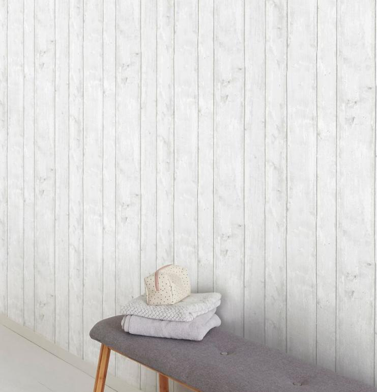 entree papier peint motif bois blanc