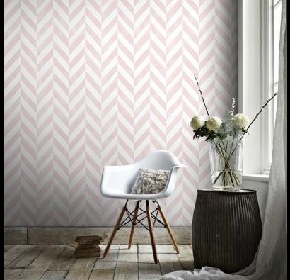 entree papier peint motif chevrons rose et blanc