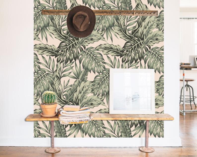 entree papier peint motif tropical