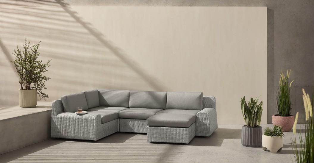 mobilier exterieur canape resine gris clair