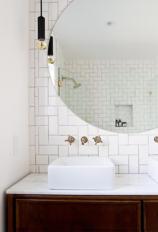 modern glam salle de bain grand miroir rond