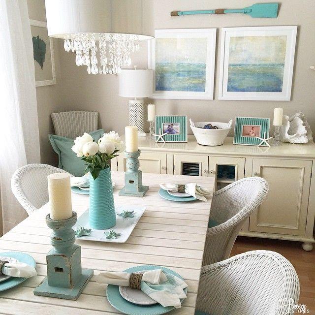 salle a manger deco bord de mer utilisation bleu aqua