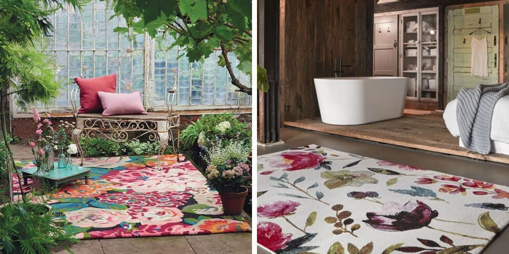 tapis imprime grandes fleurs