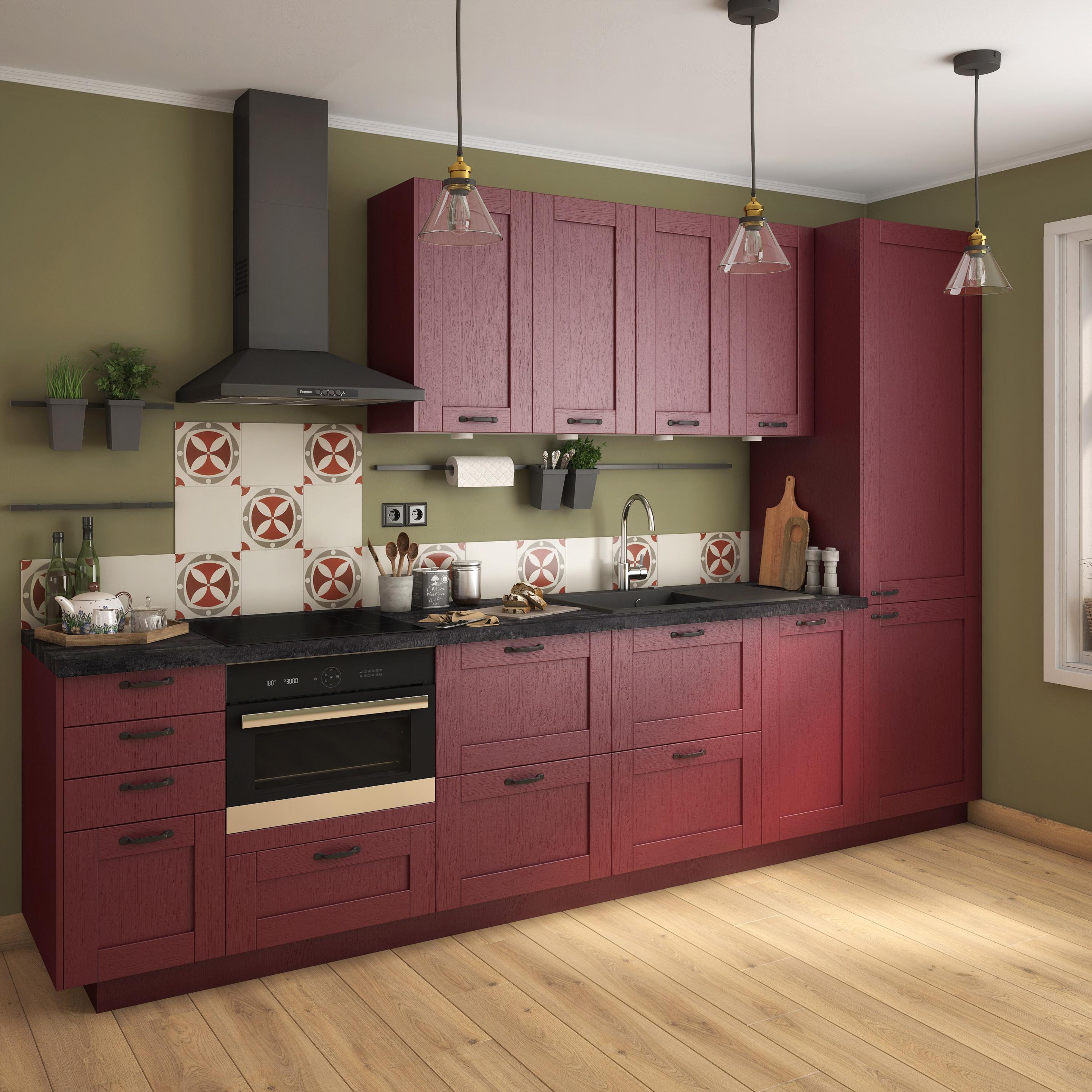 couleur foncee cuisine bordeaux meuble