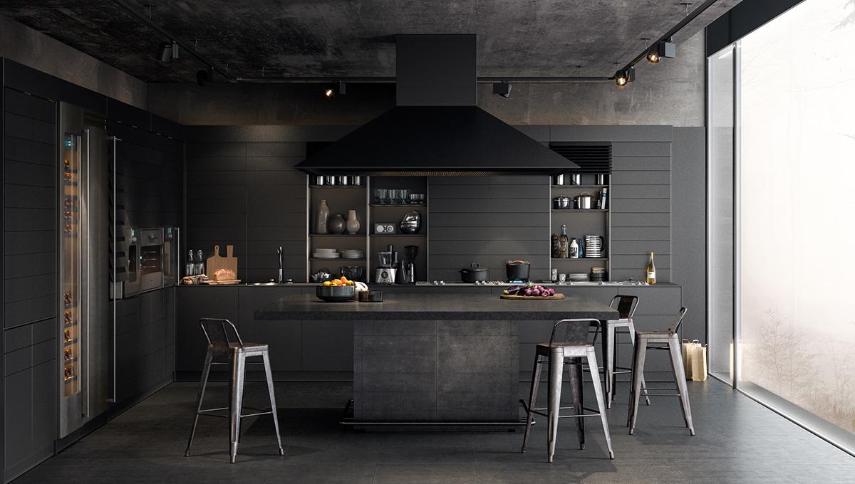 couleur foncee cuisine gris antracite sombre