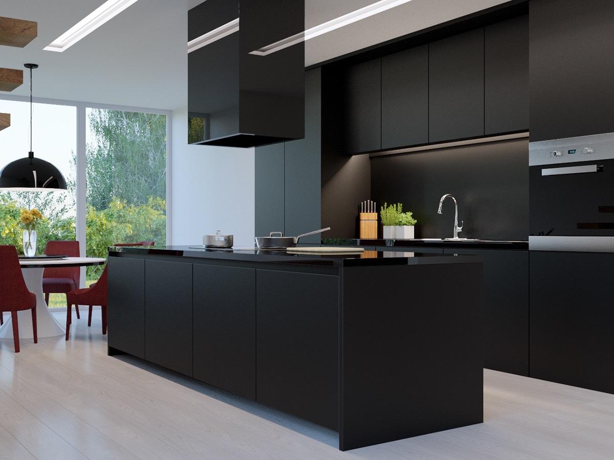 couleur foncee cuisine meuble minimalisme design