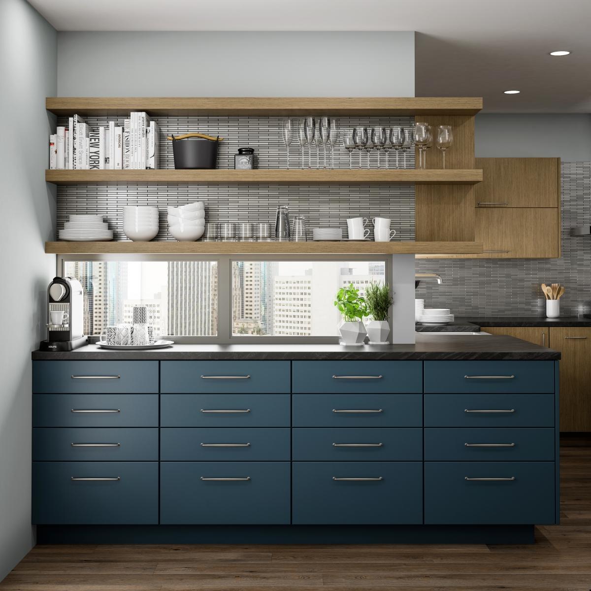 couleur foncee cuisine mobilier bleu contemporain