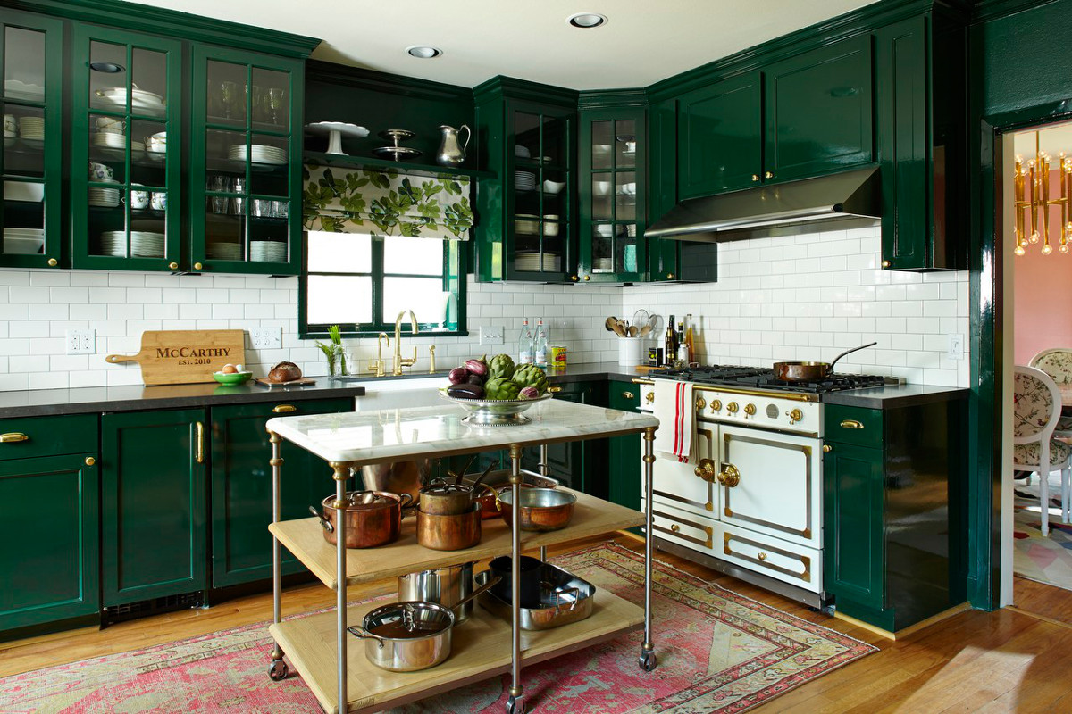 couleur foncee cuisine vert anglais