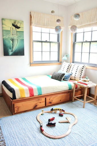 decorer amenager chambre enfant lit bois