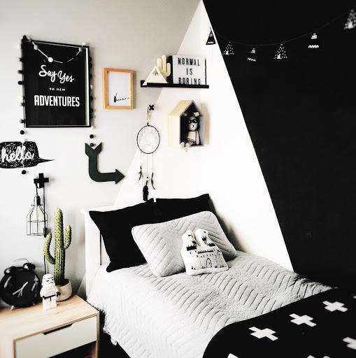 decorer amenager chambre enfant noir et blanc