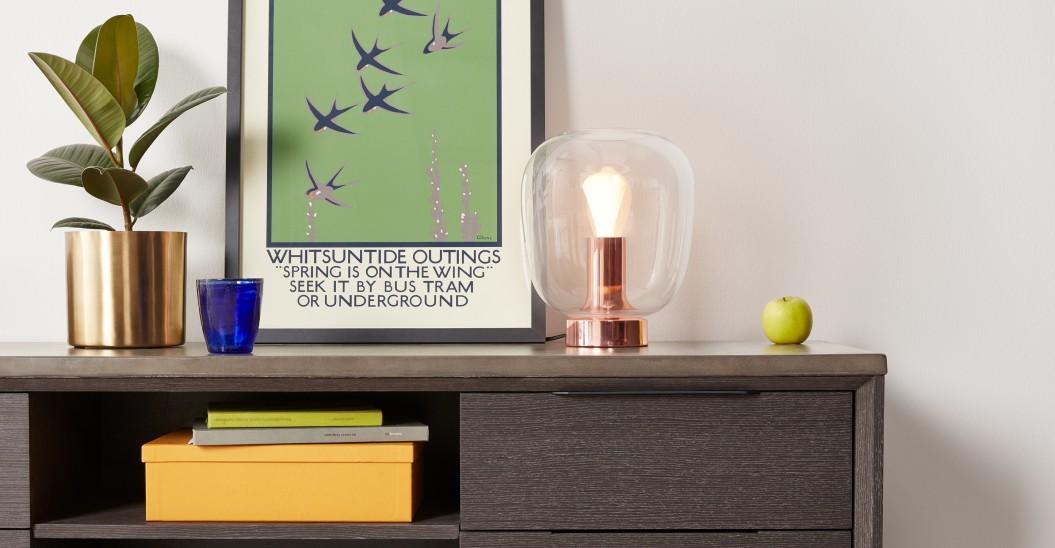 lampe de table laiton rose cuivre