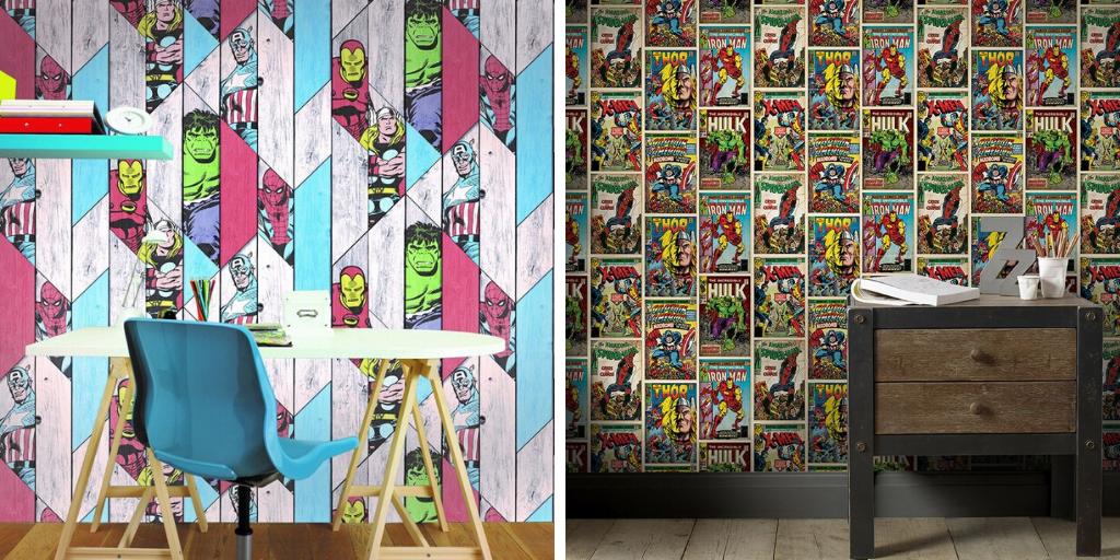 papier peint motif enfant marvel DC comics