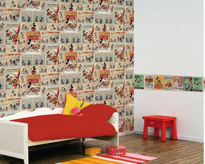 papier peint motif enfant mickey bd vintage