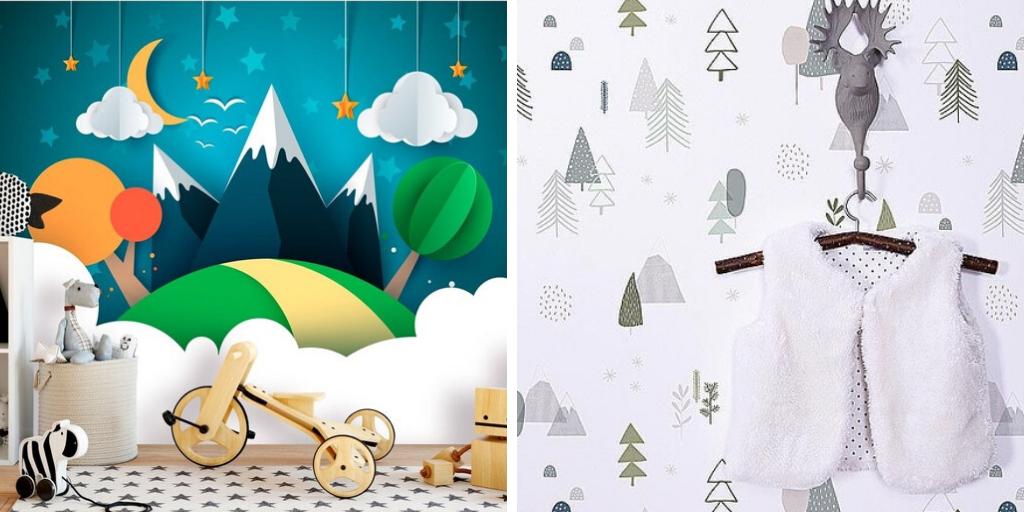 papier peint motif enfant nature paysage