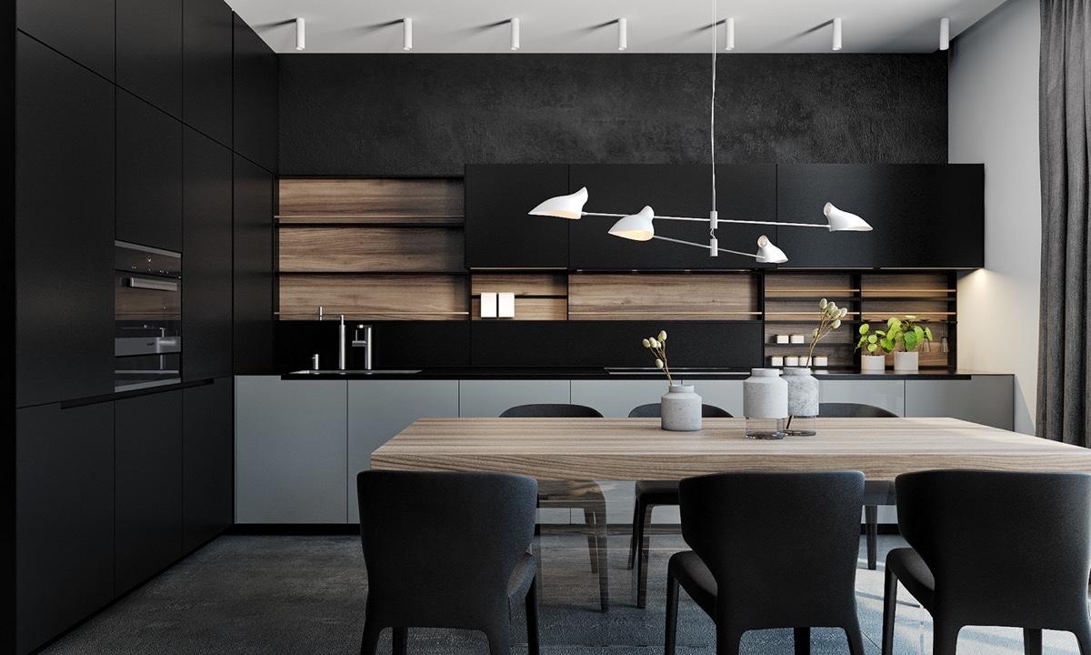 petit espace couleur ton sur ton noir cuisine