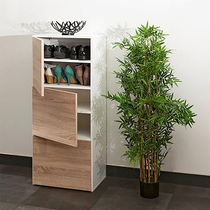 petit meuble a chaussure 3 portes blanc bois
