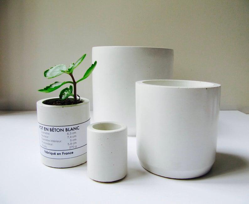 plante cache pot beton blanc
