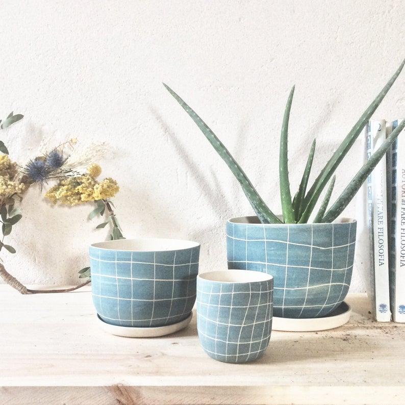 plante cache pot deco bleu