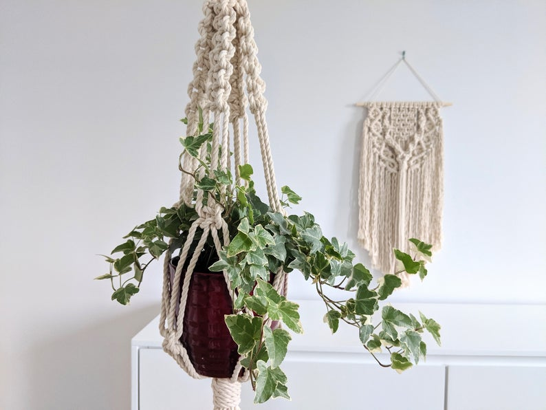 plante cache pot suspension macrame