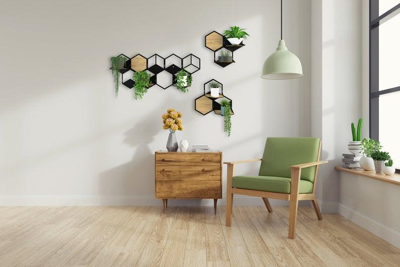 plante deco support mural geometrique