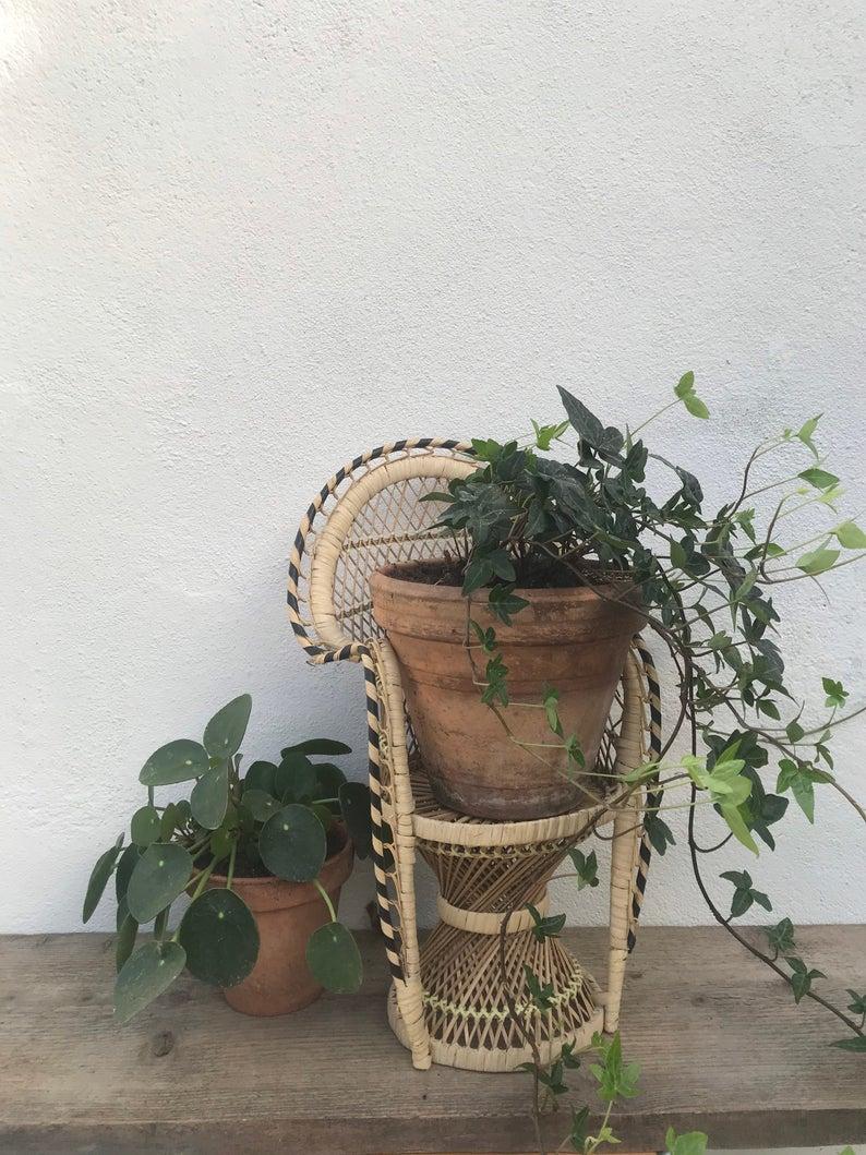 plante deco support rotin