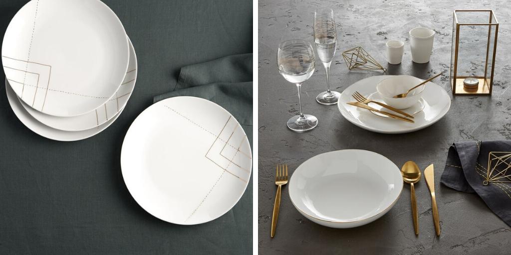 slow deco vaisselle minimaliste assiette blanche or