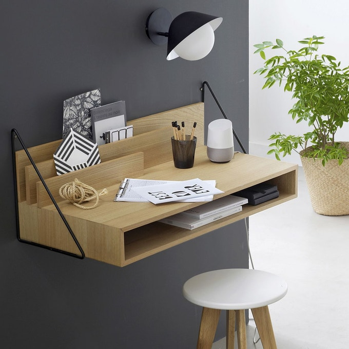 teletravail petit bureau mural entree