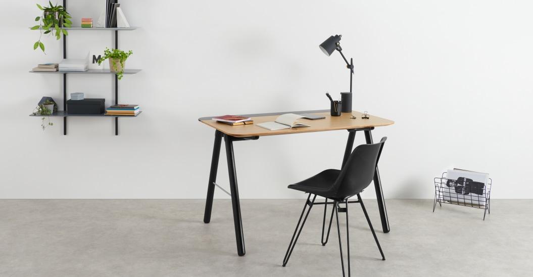 teletravail petit bureau noir bois