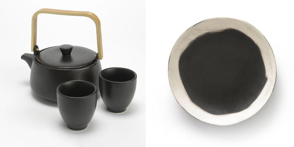vaisselle art table noir et blanc authentique